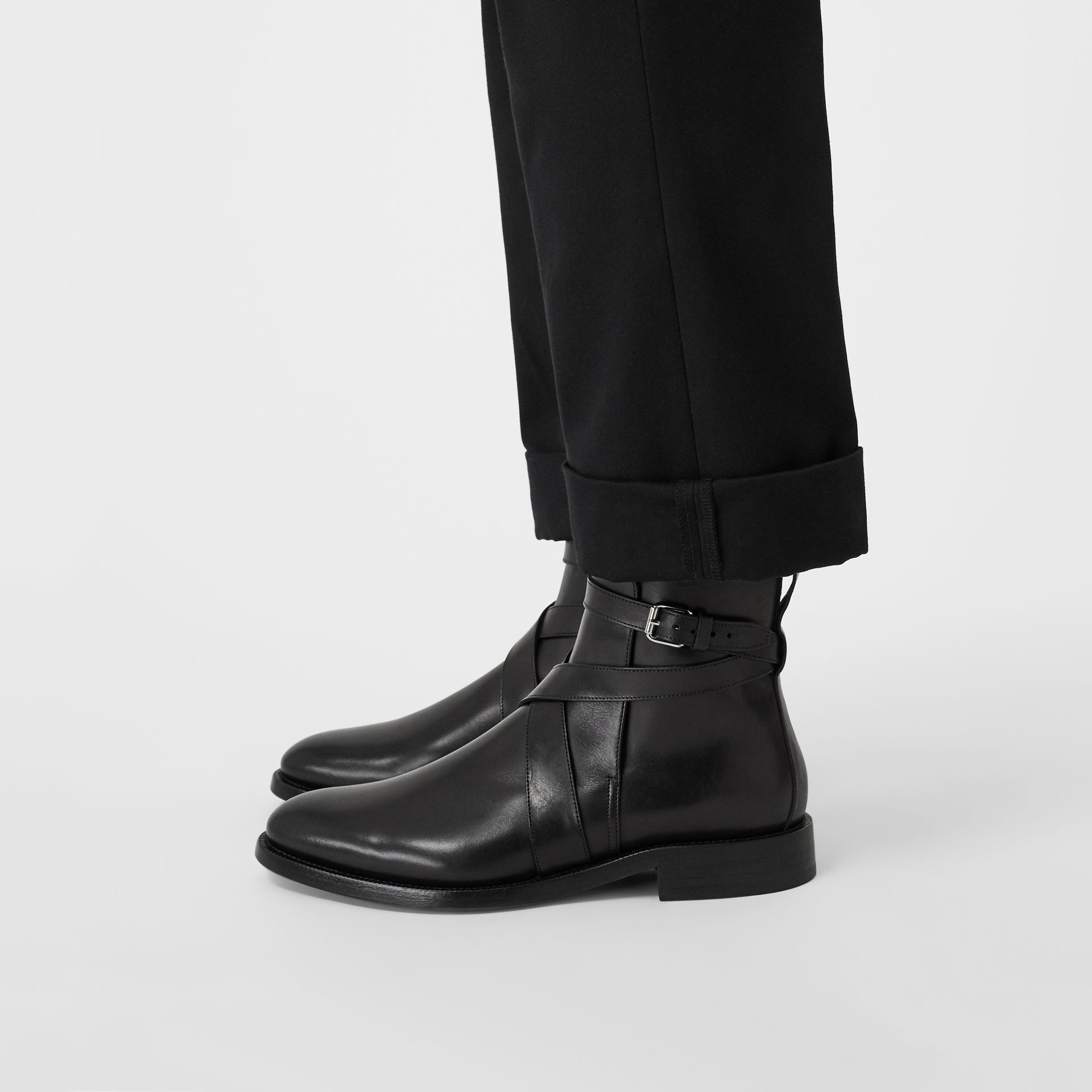 Strap Detail Leather Ankle Boots in Black - Men | Burberry - gallery image 2