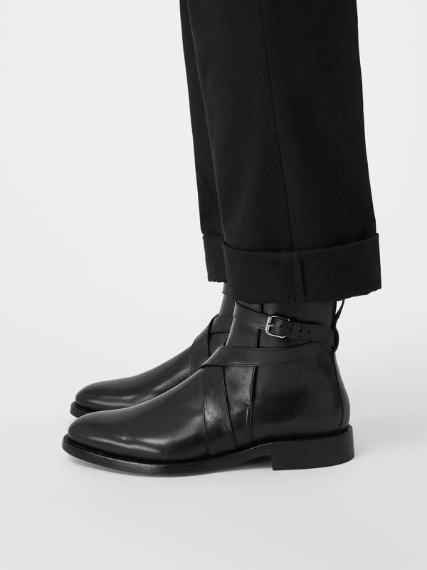 Strap Detail Leather Ankle Boots in Black - Men | Burberry United States - cell image 2