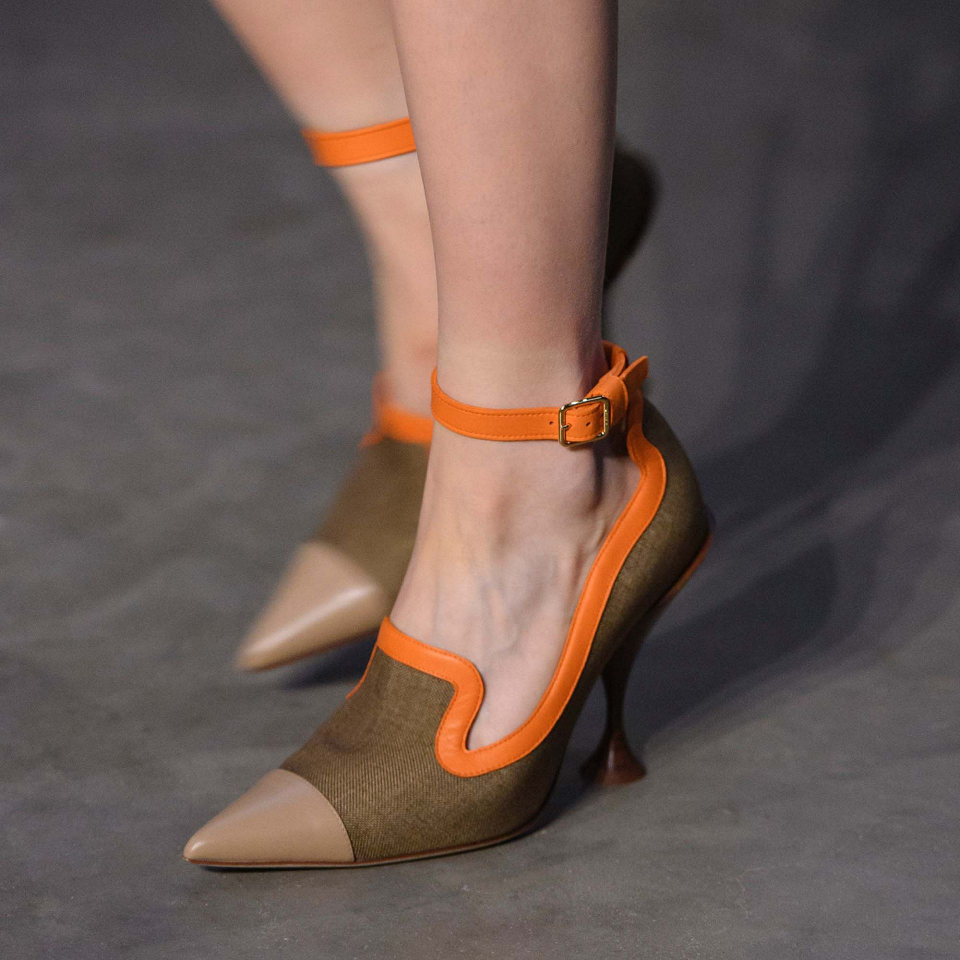 Canvas and Leather Point-toe Pumps in Camel - Women | Burberry - gallery image 1