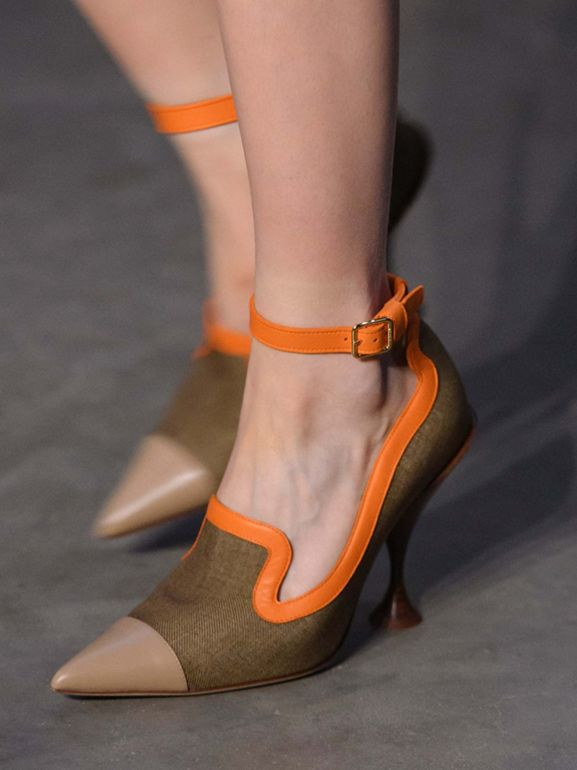 Canvas and Leather Point-toe Pumps in Camel - Women | Burberry - cell image 1