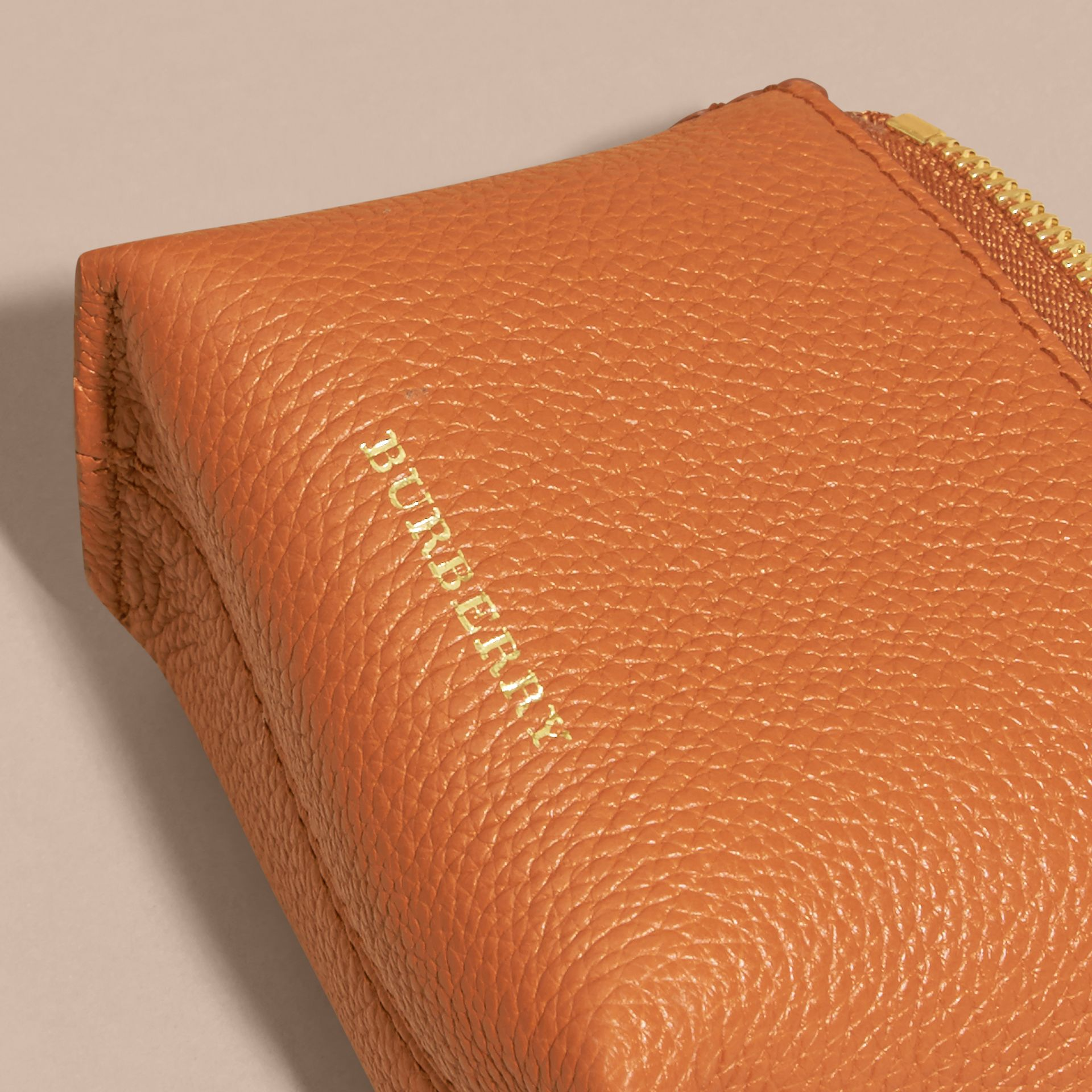 Grainy Leather Lipstick Case in Orange Umber - Women | Burberry - gallery image 2