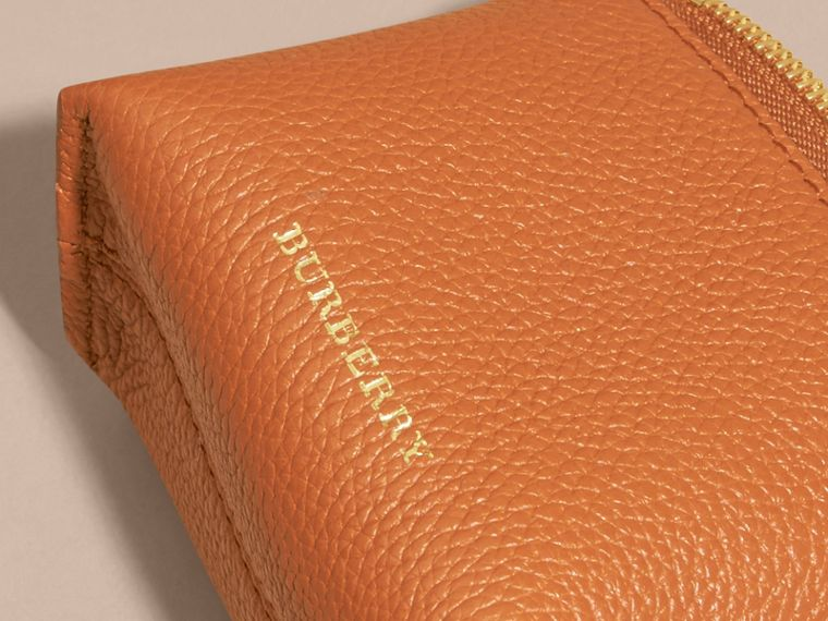 Grainy Leather Lipstick Case in Orange Umber - Women | Burberry - cell image 1