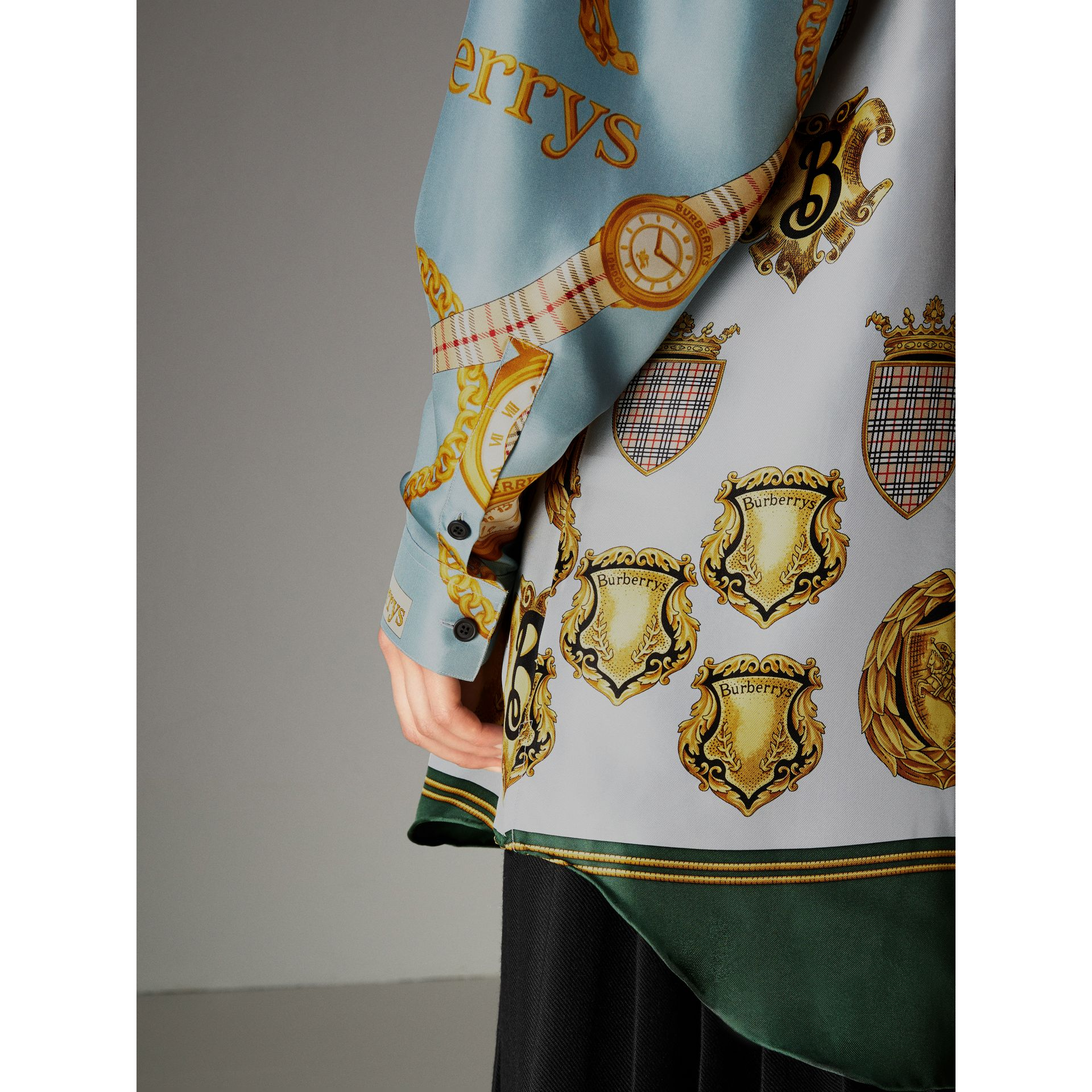 Archive Scarf Print Silk Shirt in Airforce Blue - Women | Burberry - gallery image 1