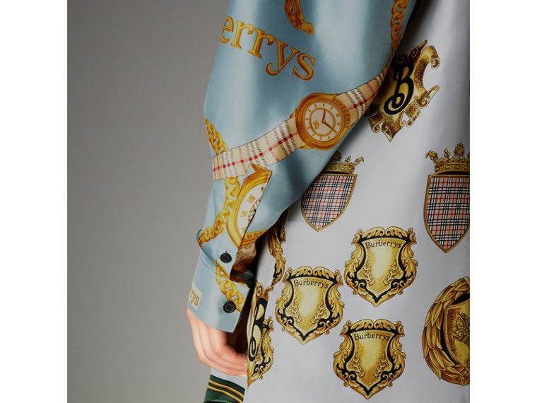 Archive Scarf Print Silk Shirt in Airforce Blue - Women | Burberry - cell image 1