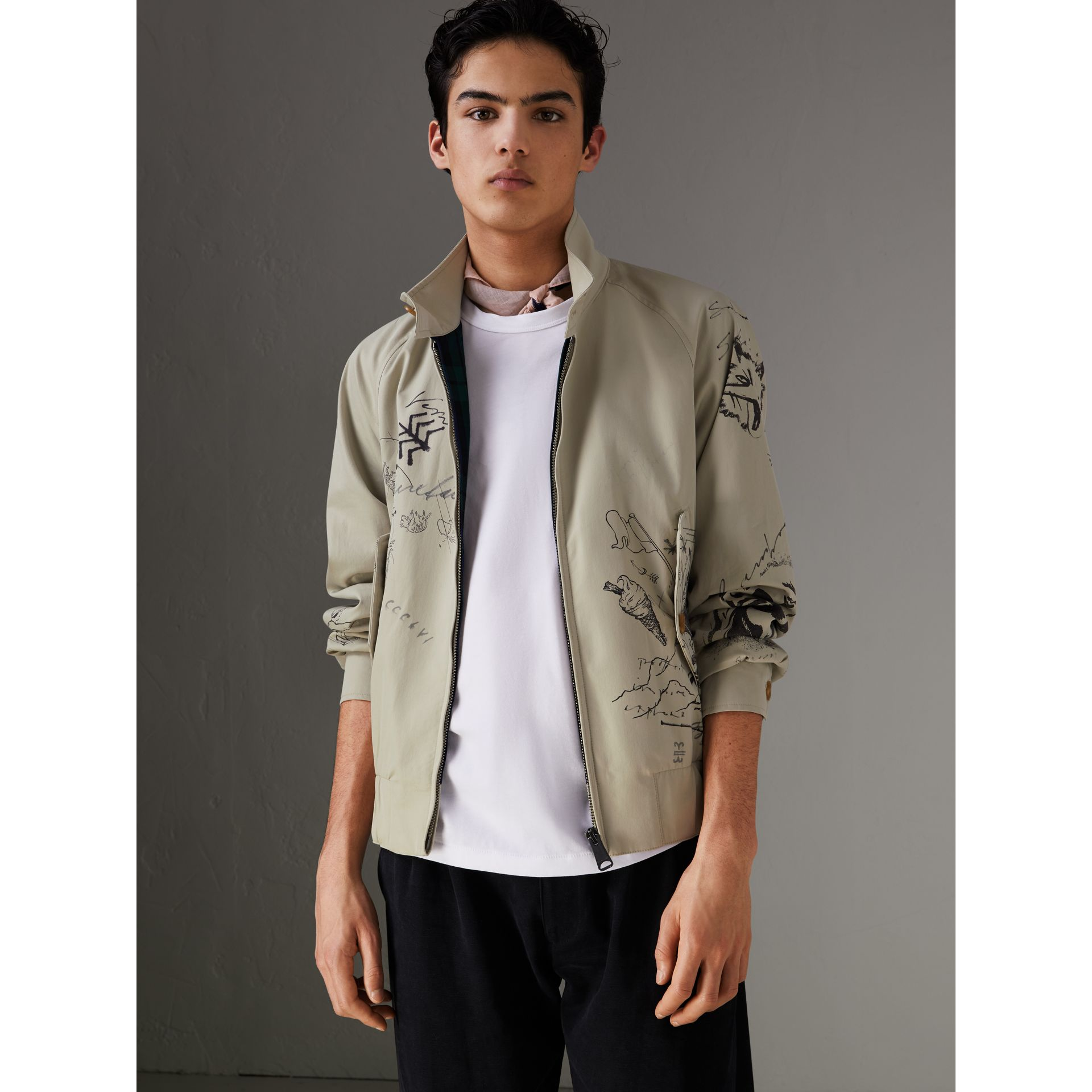 Sketch Print Harrington Jacket in Stone - Men | Burberry Singapore - gallery image 5
