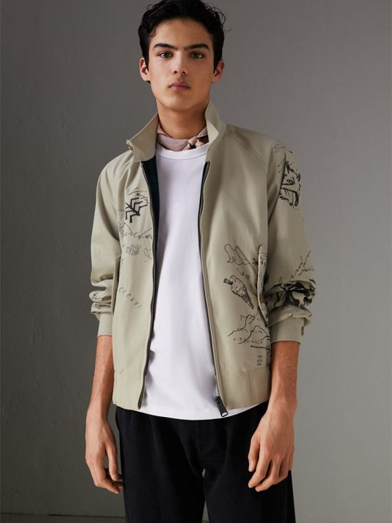 Sketch Print Harrington Jacket in Stone