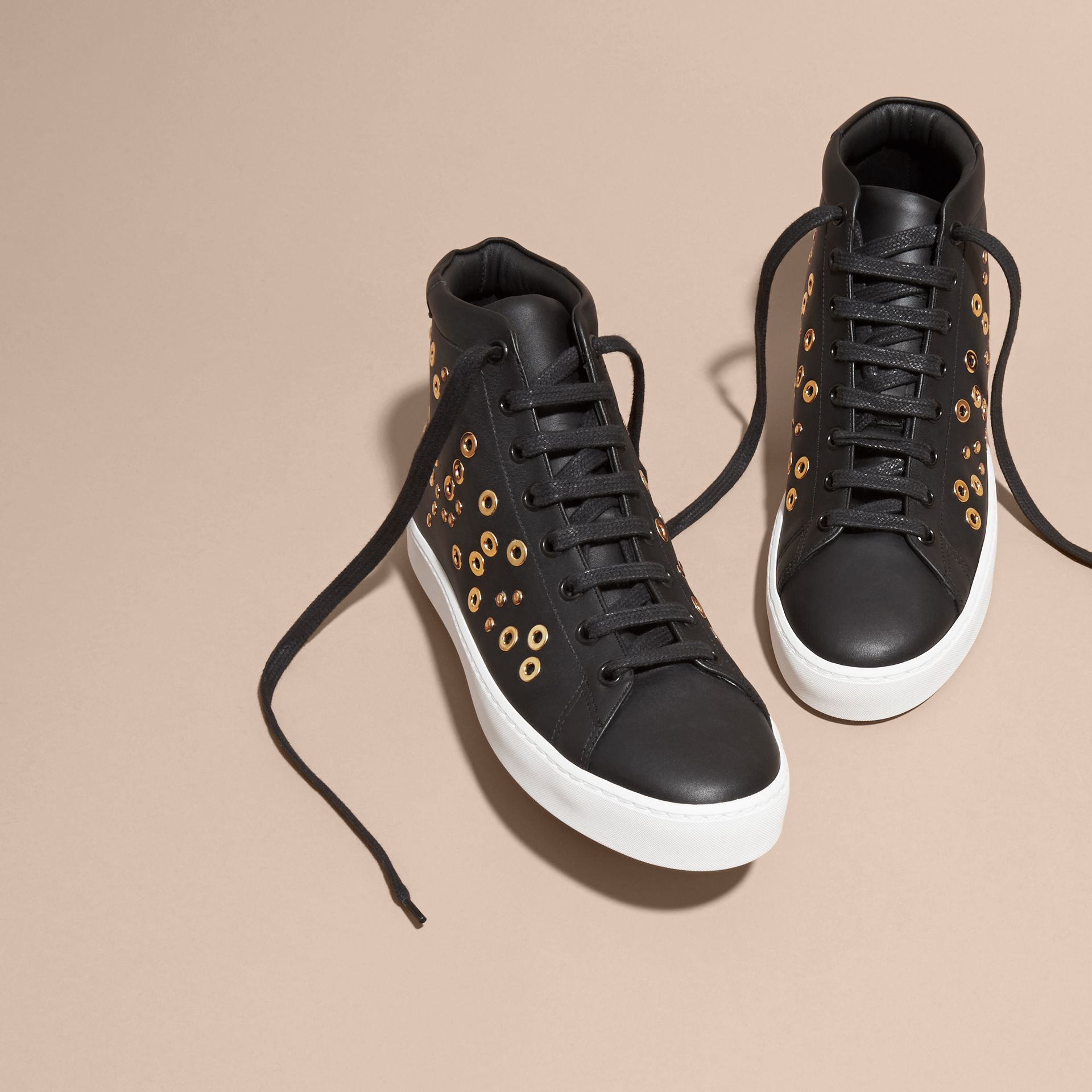 Black Rivet and Eyelet Leather High-top Trainers - gallery image 3