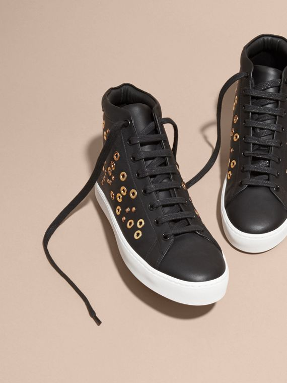 Black Rivet and Eyelet Leather High-top Trainers - cell image 2