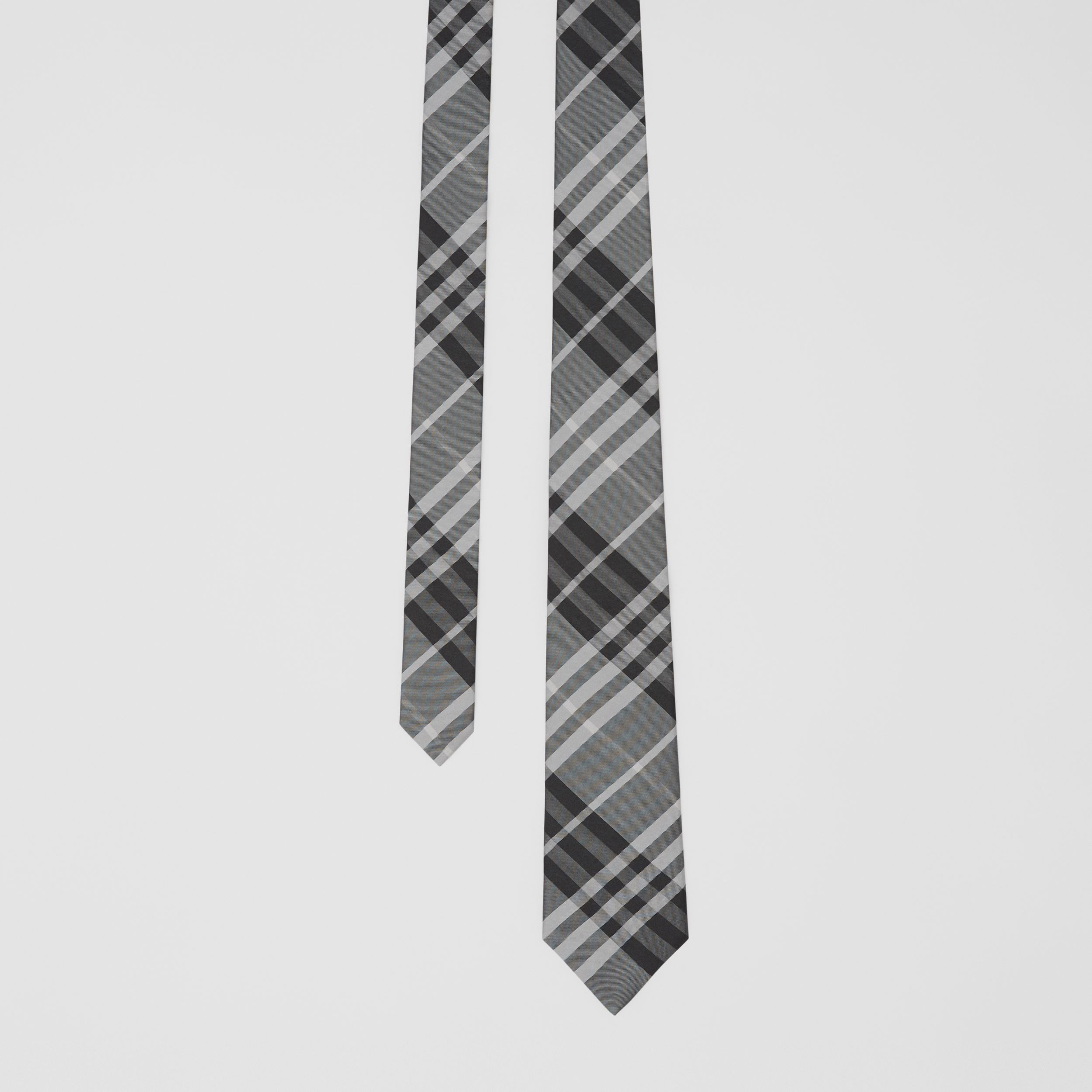 Classic Cut Vintage Check Silk Tie in Mineral Grey - Men | Burberry - 1