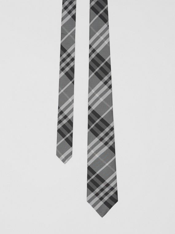 Gravata de seda em Vintage Check com corte clássico (Cinza Mineral)
