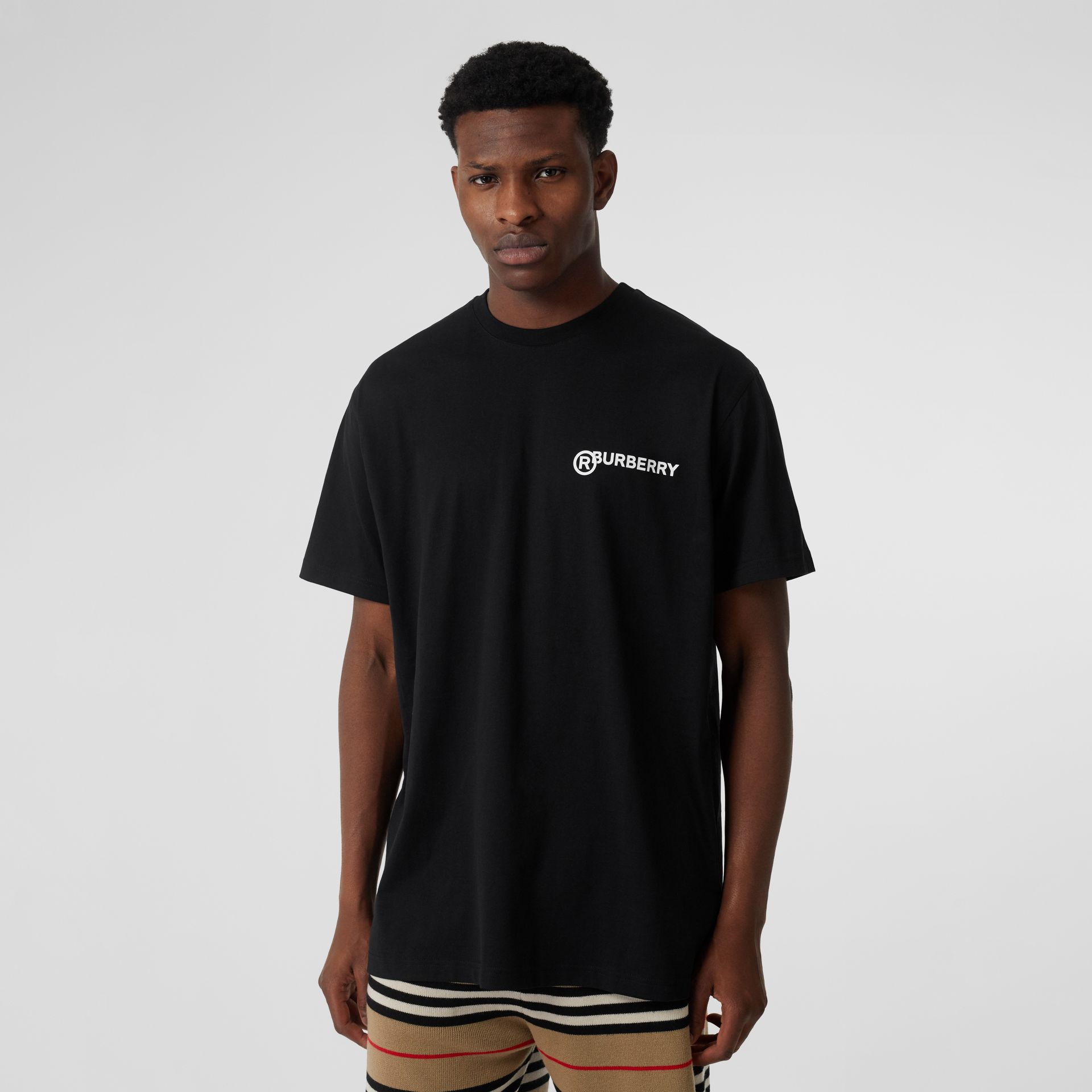Logo Print Cotton Oversized T-shirt in Black - Men | Burberry - gallery image 4