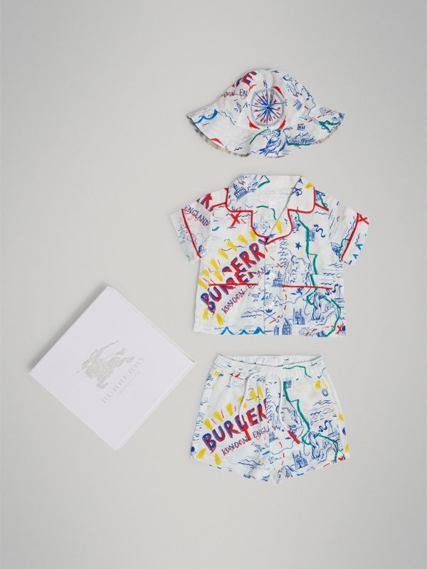 Adventure Print Linen Three-piece Baby Gift Set in Sand | Burberry United Kingdom - cell image 2
