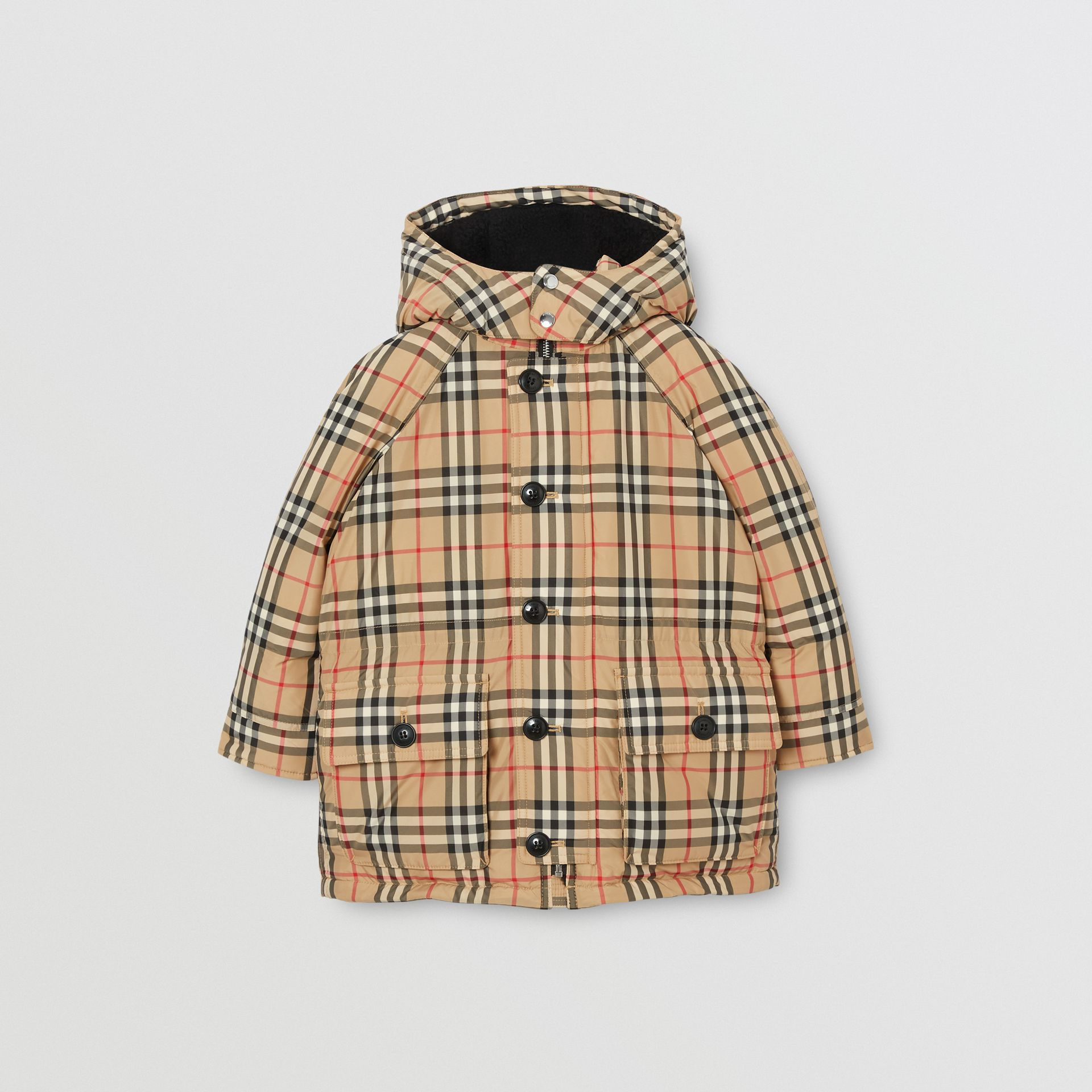 Vintage Check Down-filled Hooded Puffer Jacket in Archive Beige | Burberry - gallery image 0