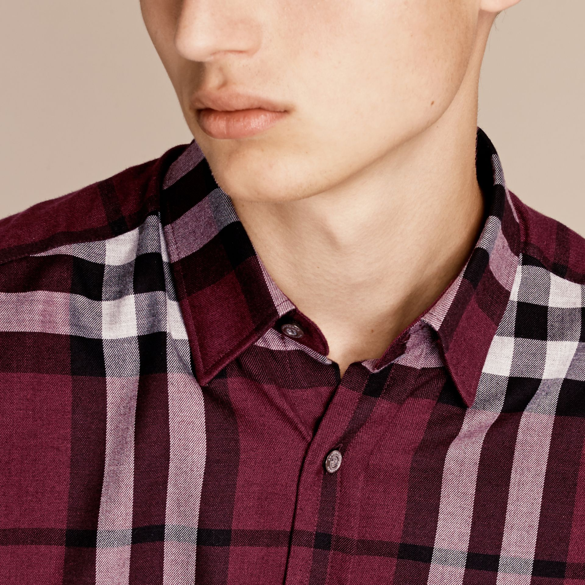 Deep claret Check Cotton Cashmere Flannel Shirt Deep Claret - gallery image 5