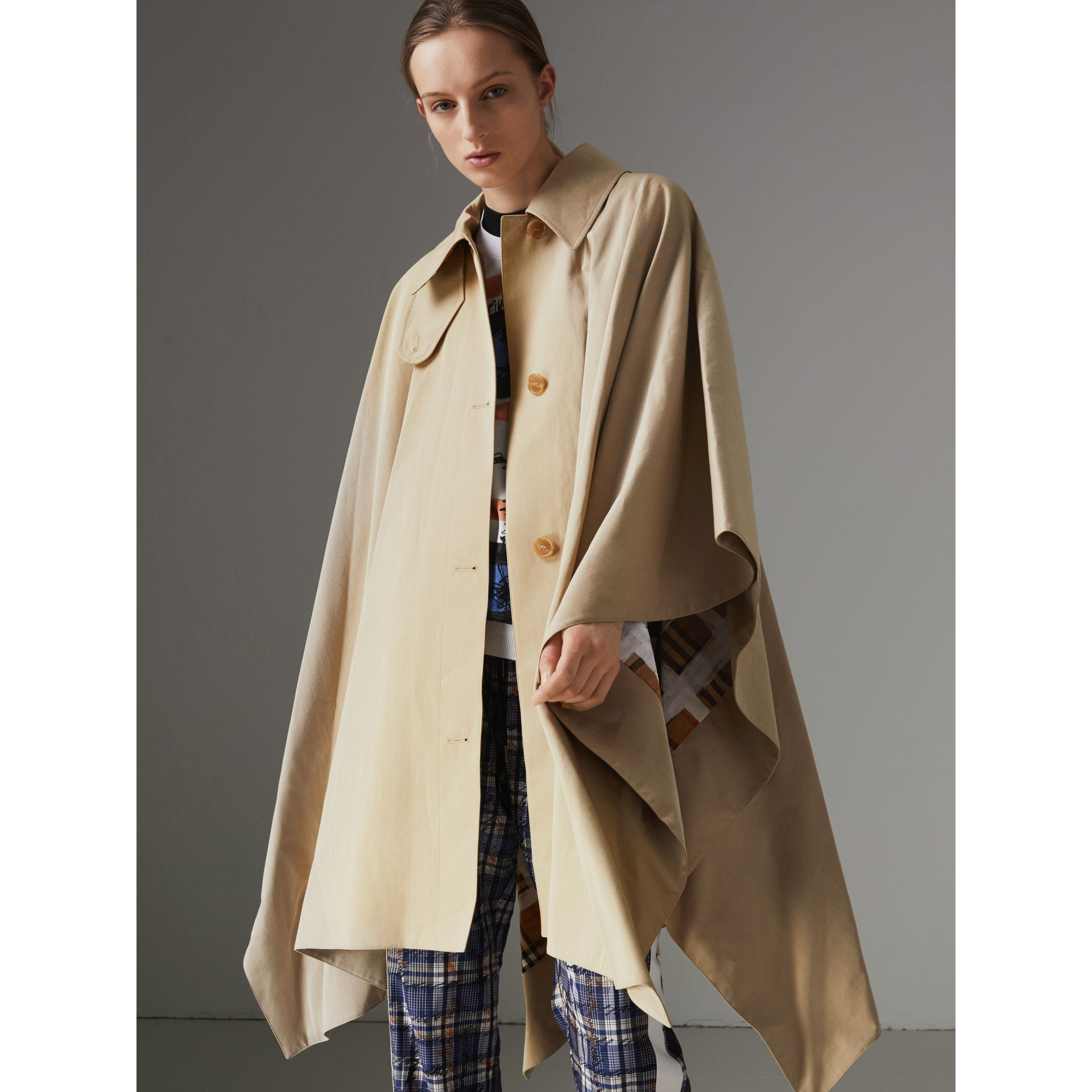 Tropical Gabardine Asymmetric Cape in Oatmeal - Women | Burberry United States - gallery image 5