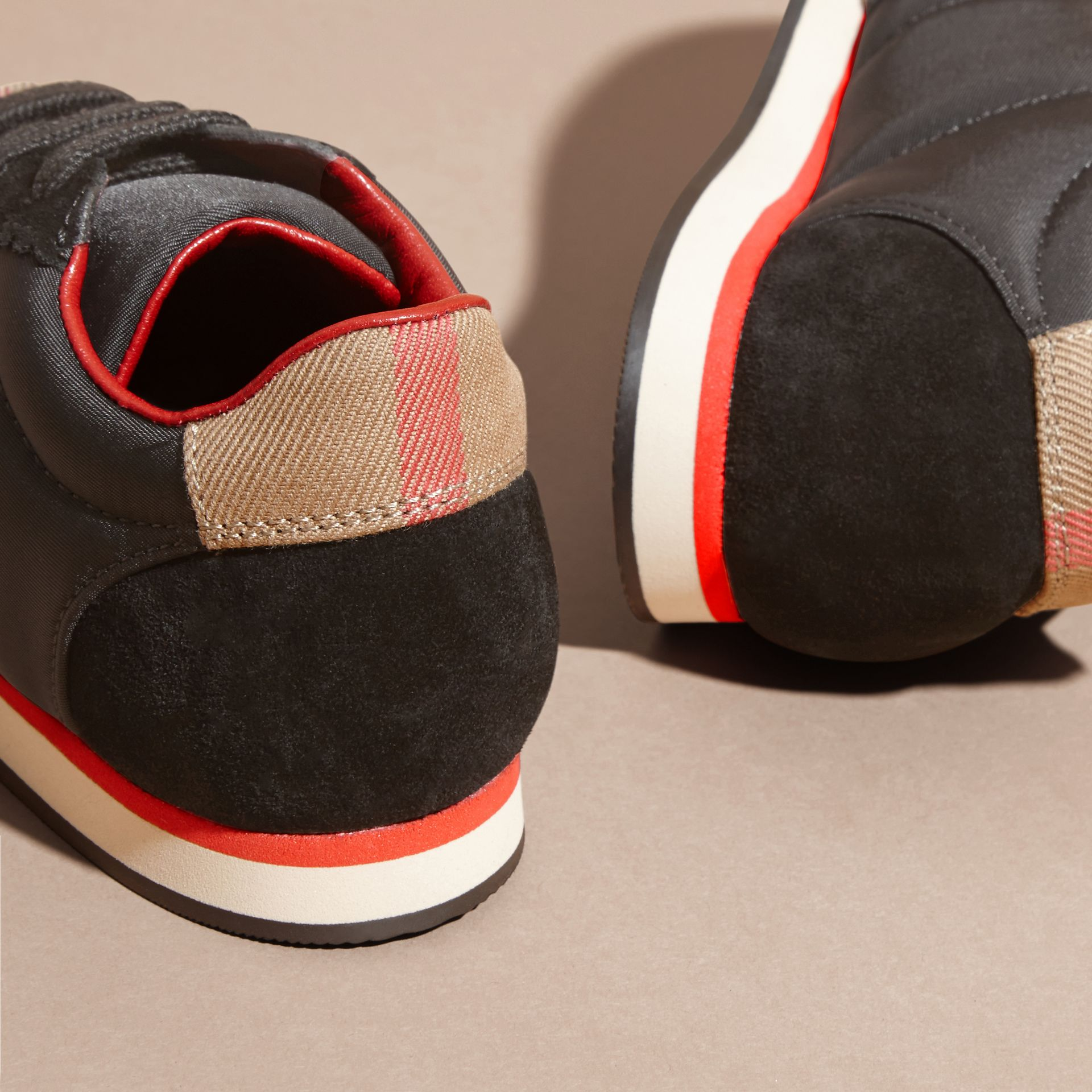 House Check Trim Suede and Technical Nylon Sneakers in Black | Burberry - gallery image 3