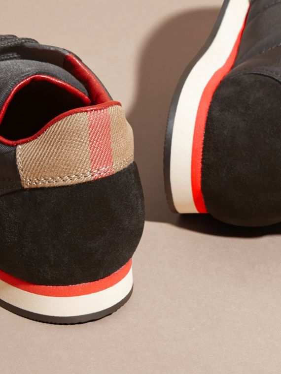 House Check Trim Suede and Technical Nylon Sneakers in Black - Boy | Burberry - cell image 3