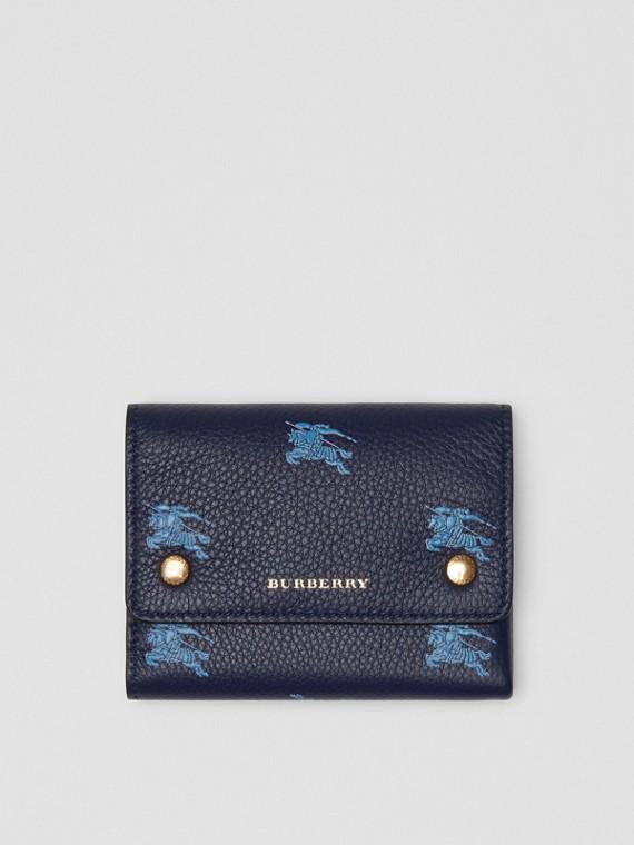 Kleine Lederbrieftasche mit Ritteremblem (Königsblau)