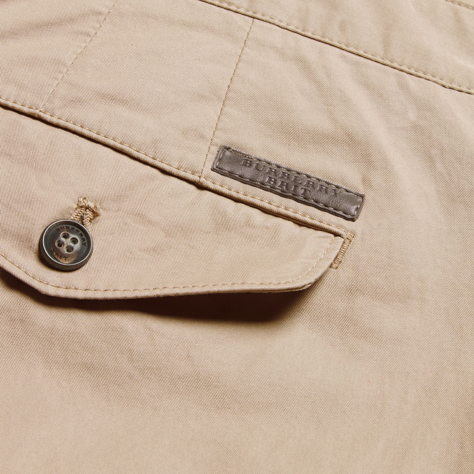 Slim Fit Cotton Chinos in Taupe - Men | Burberry - gallery image 2