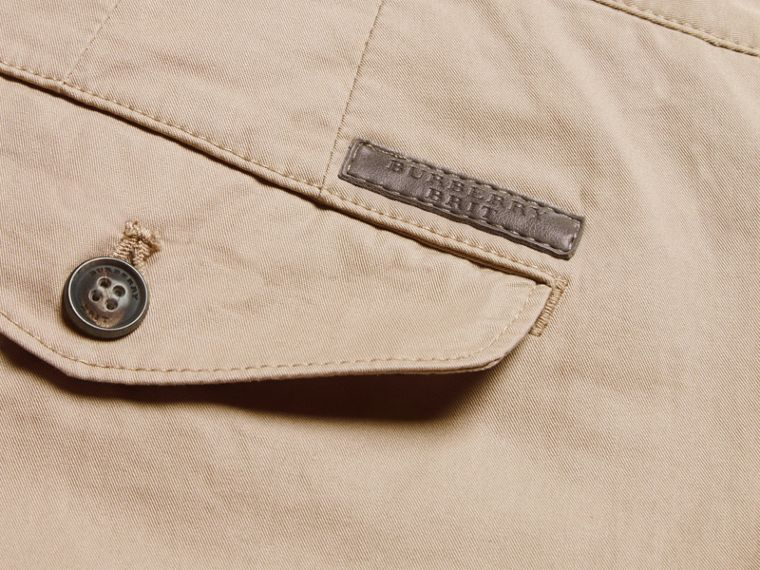 Slim Fit Cotton Chinos in Taupe - Men | Burberry - cell image 1