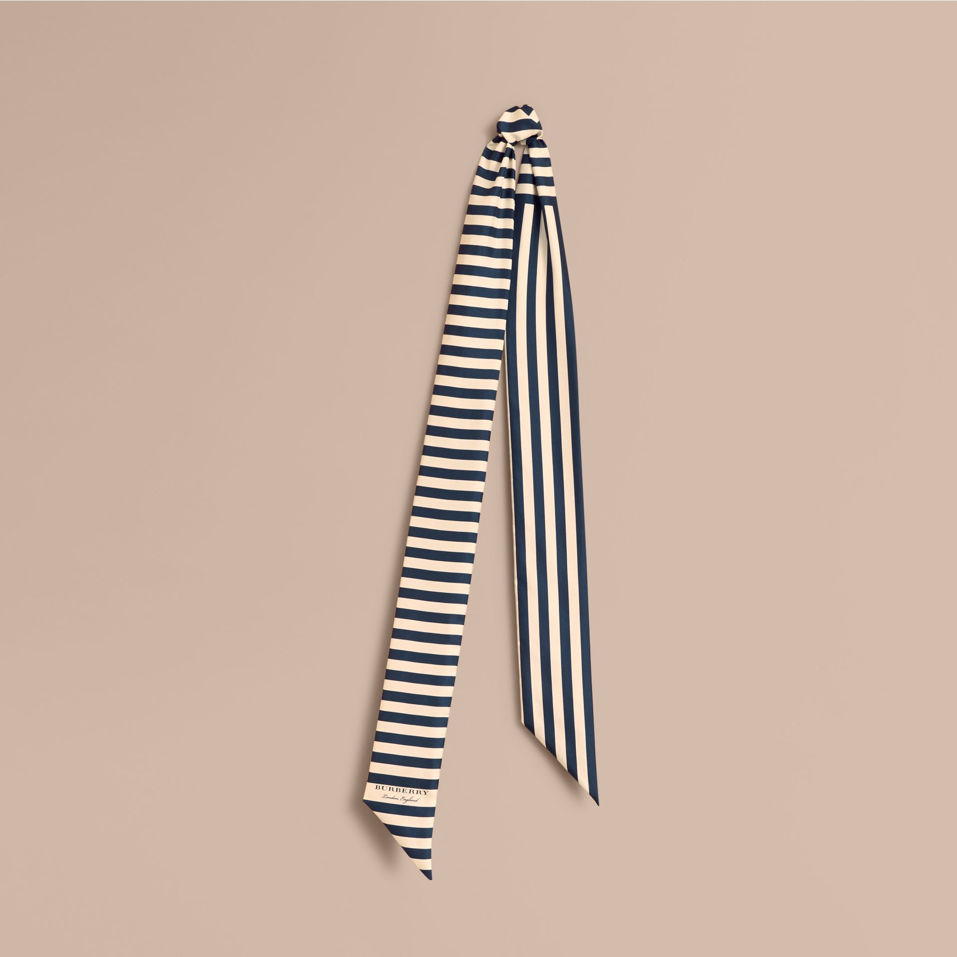 Slim Striped Silk Scarf in Navy - Women | Burberry - gallery image 1