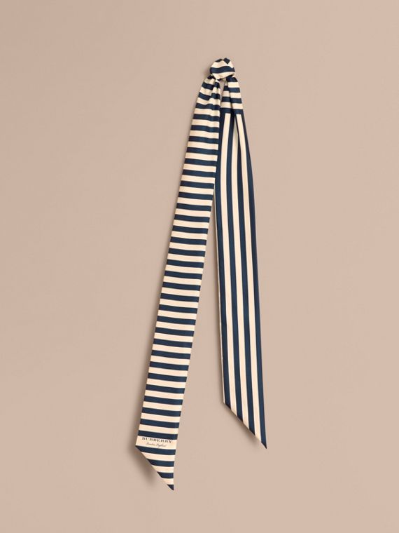 Slim Striped Silk Scarf in Navy