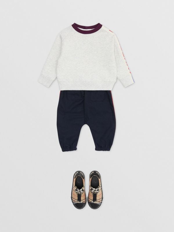 Logo Print Jersey Sweatshirt in White Melange - Children | Burberry - cell image 3