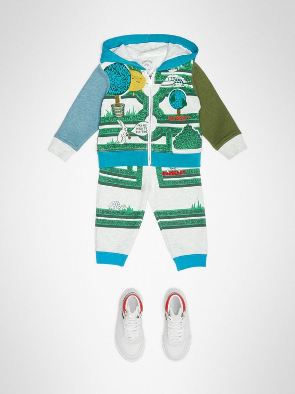 Hedge Maze Print Cotton Hooded Top in Multicolour - Children | Burberry United Kingdom - cell image 2