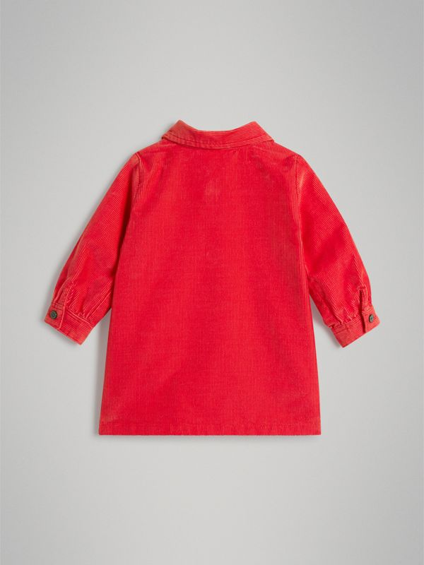 Corduroy Shirt Dress in Bright Orange Red - Children | Burberry United Kingdom - cell image 3