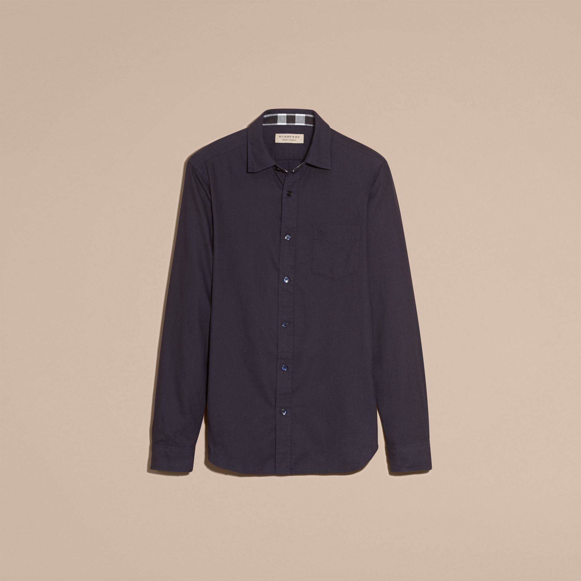 Check Detail Cotton Flannel Shirt in Navy - gallery image 4