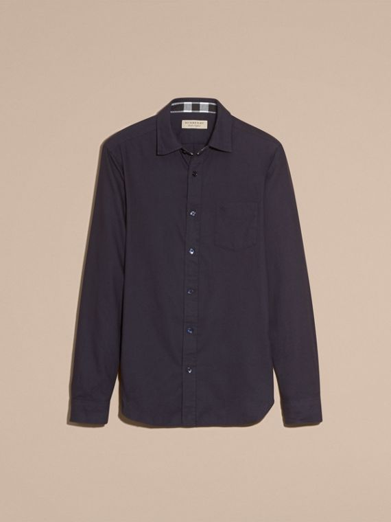 Navy Check Detail Cotton Flannel Shirt Navy - cell image 3