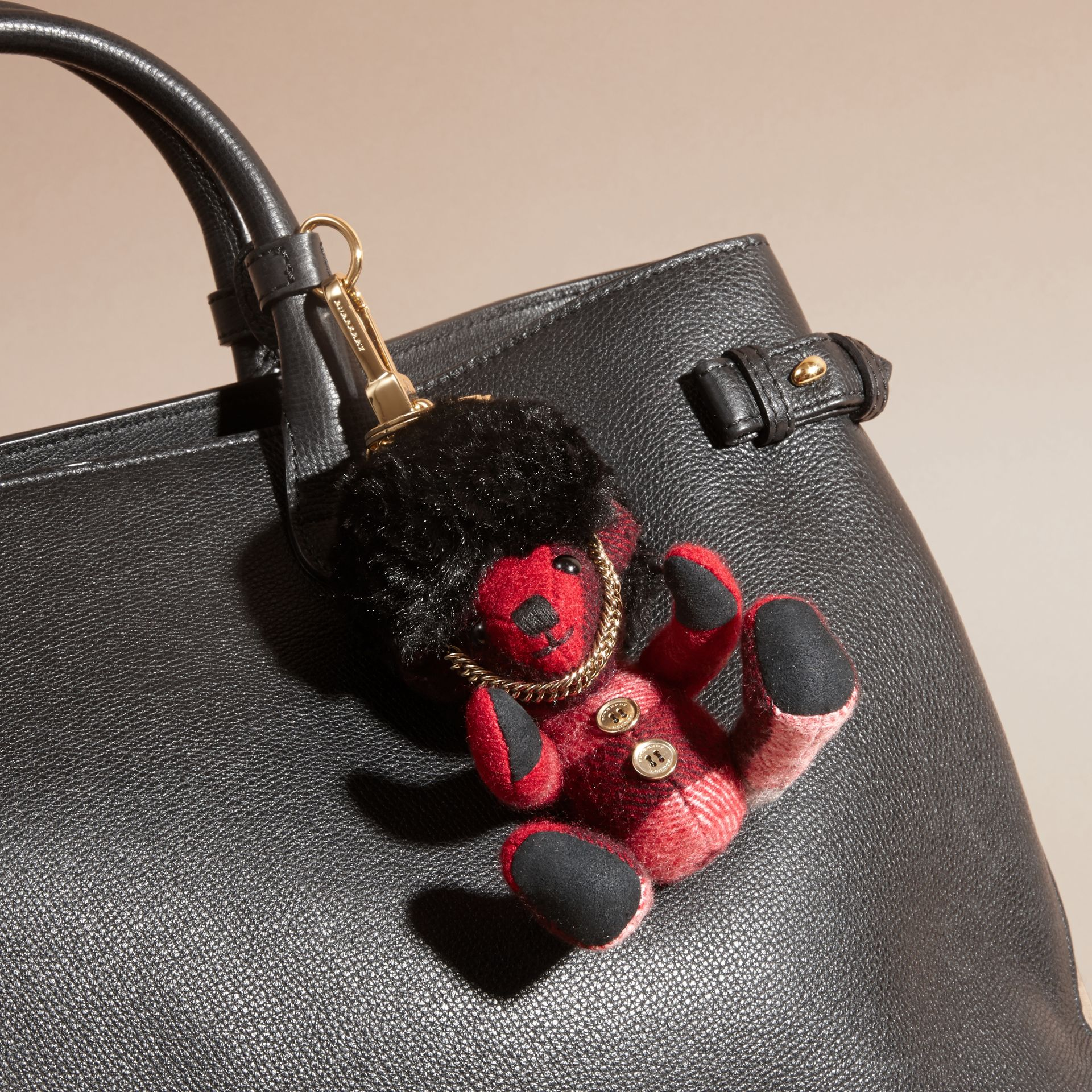 The Guardsman Thomas Bear Charm in Check Cashmere in Parade Red | Burberry - gallery image 3