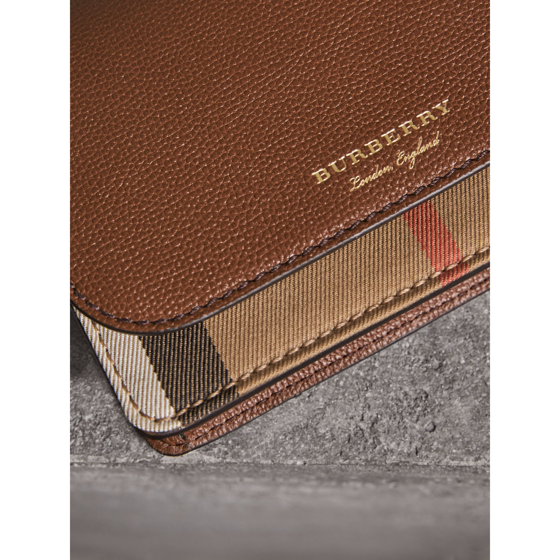 Leather and House Check Wallet with Detachable Strap in Tan - Women | Burberry United Kingdom - gallery image 1