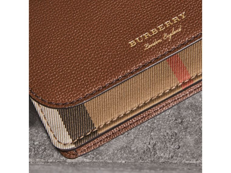 Leather and House Check Wallet with Detachable Strap in Tan - Women | Burberry Canada - cell image 1