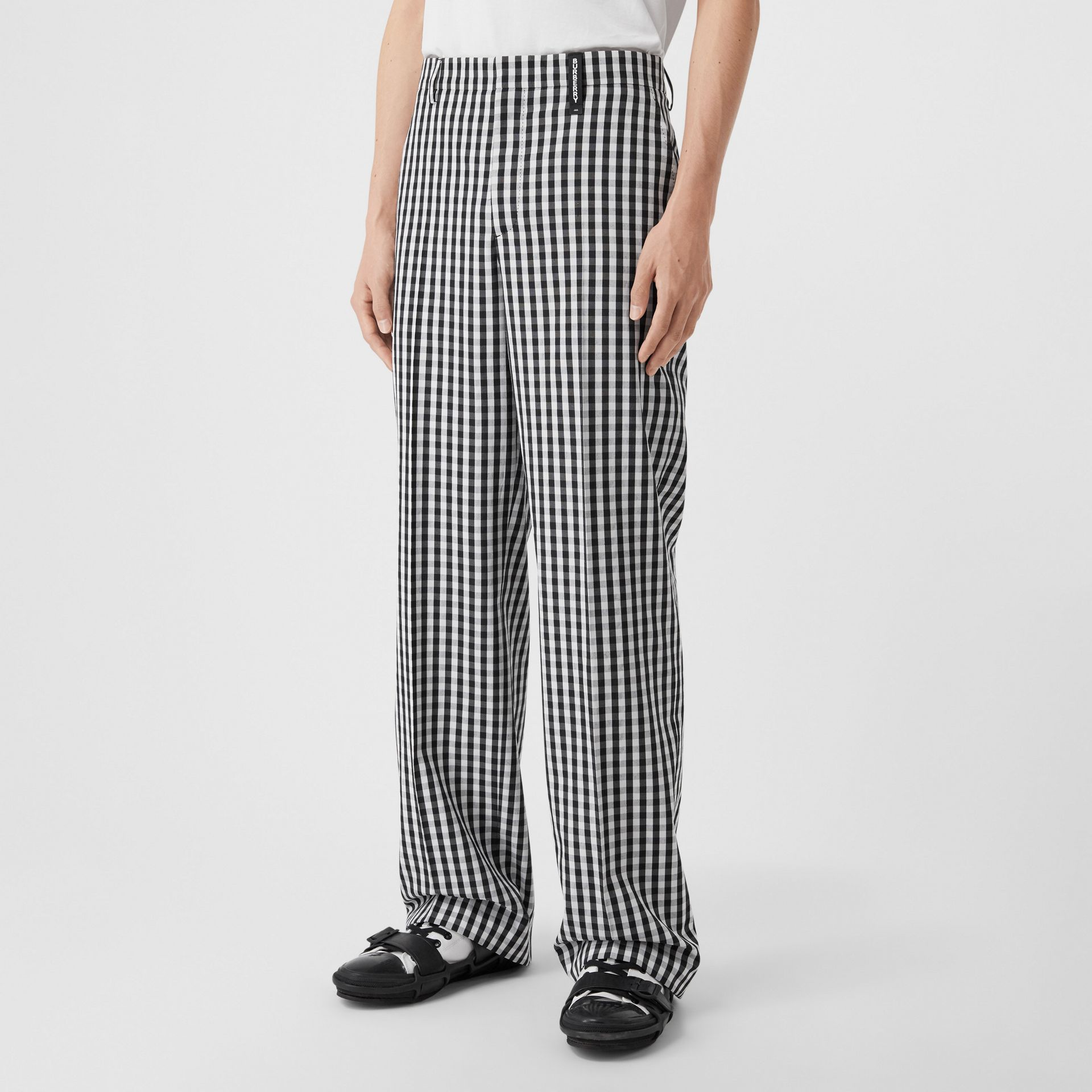 Gingham Technical Wool Wide-leg Tailored Trousers in Black | Burberry Australia - gallery image 4