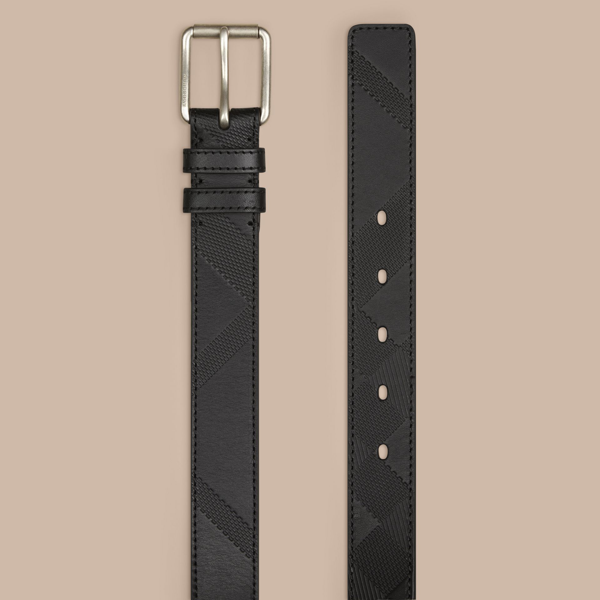 Black Check-Embossed Leather Belt Black - gallery image 3