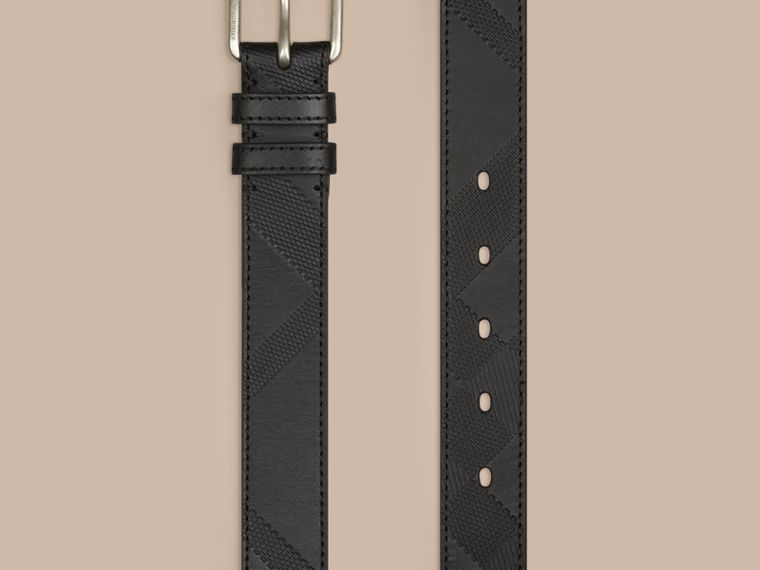 Black Check-Embossed Leather Belt Black - cell image 2