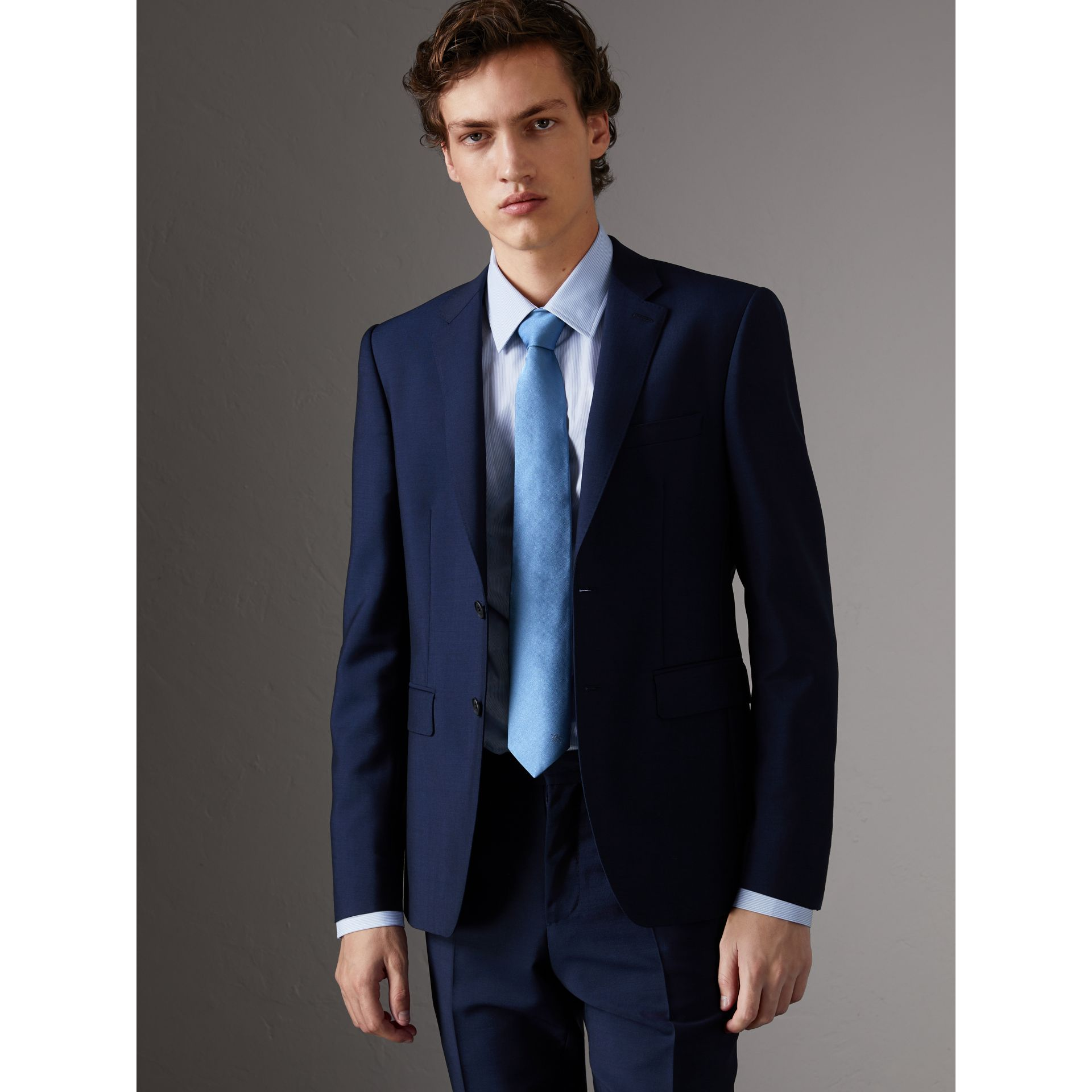 Slim Fit Wool Mohair Part-canvas Suit in Royal Navy - Men | Burberry Canada - gallery image 6
