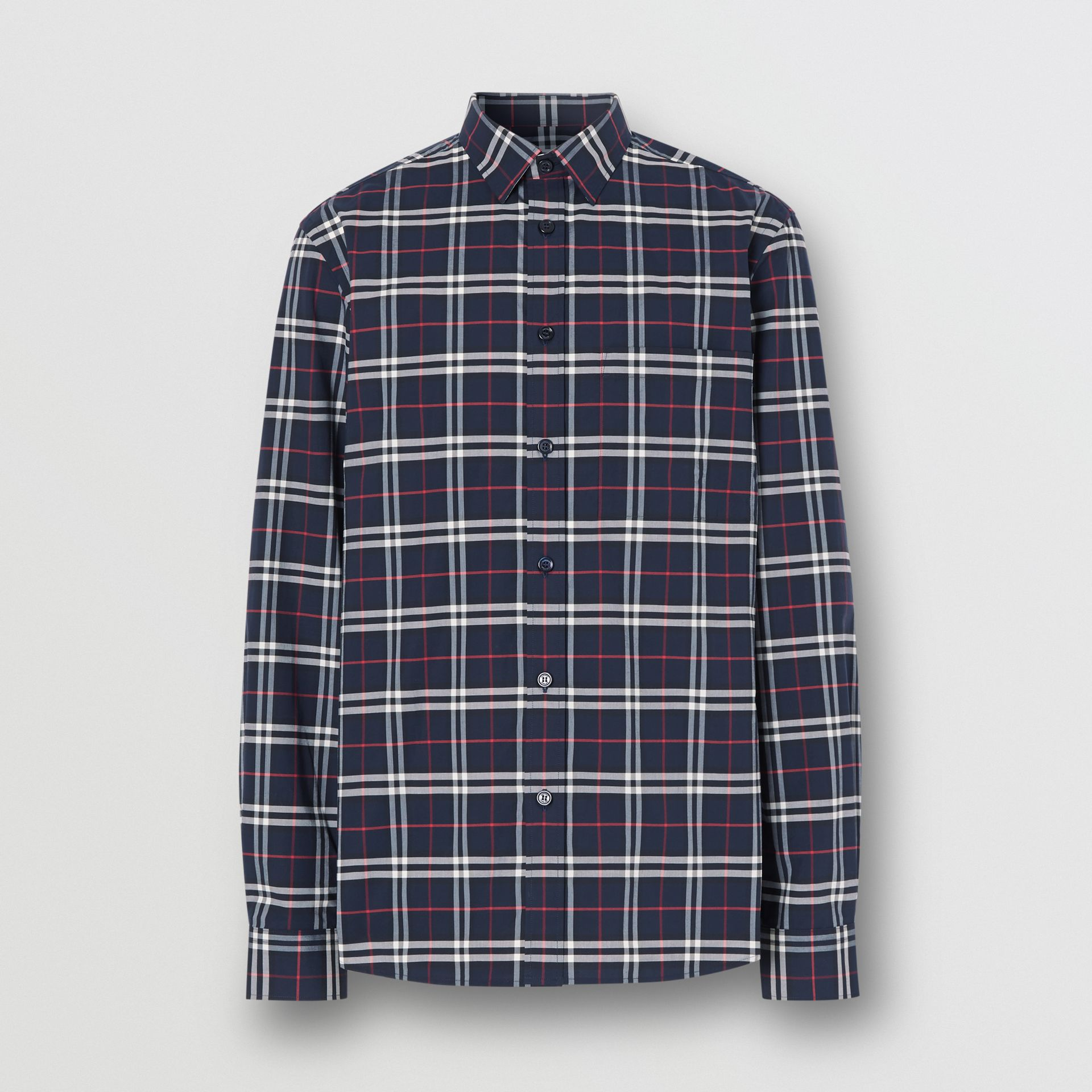 Small Scale Check Stretch Cotton Shirt in Navy - Men | Burberry - gallery image 3