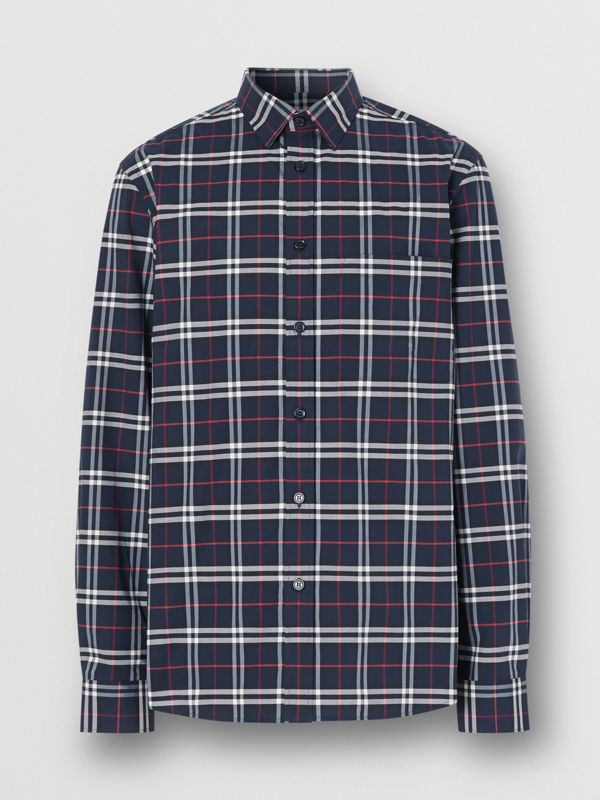 Small Scale Check Stretch Cotton Shirt in Navy - Men | Burberry - cell image 3