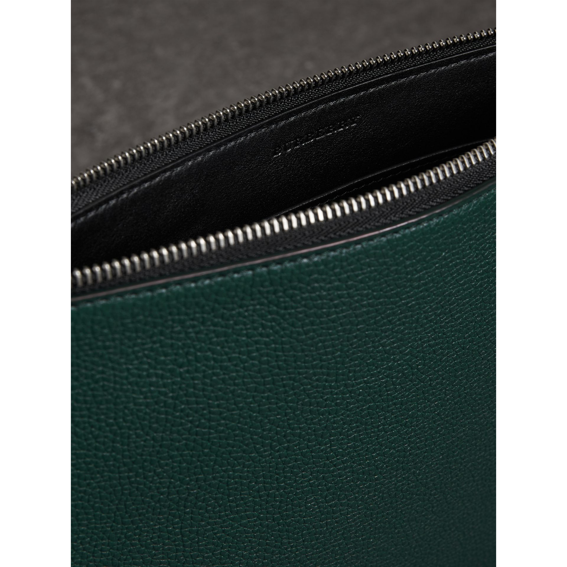 Grainy Leather Zip Pouch in Dark Cyan | Burberry Australia - gallery image 3