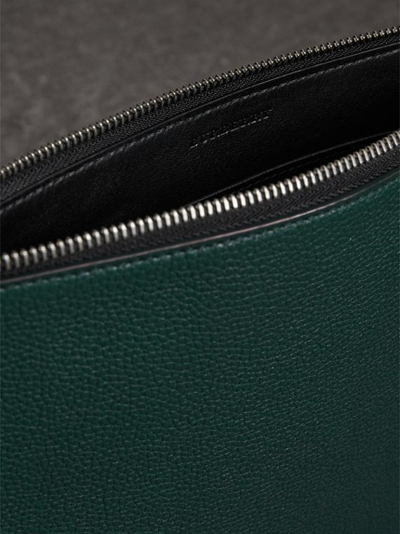 Grainy Leather Zip Pouch in Dark Cyan | Burberry Canada - cell image 3
