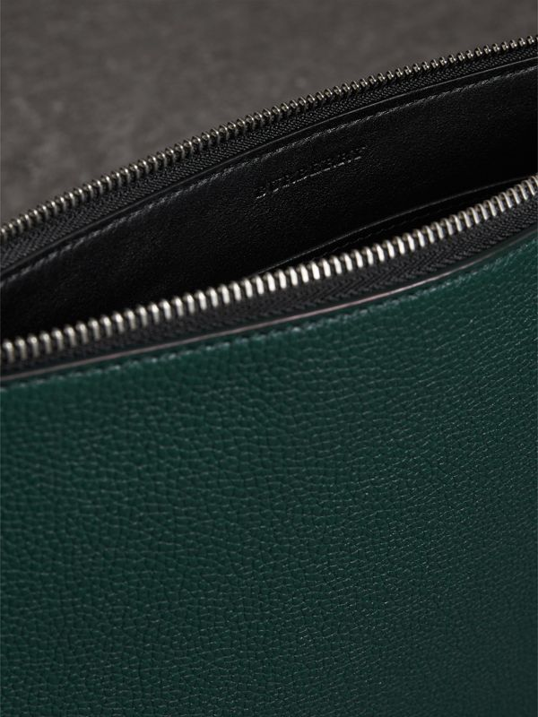 Grainy Leather Zip Pouch in Dark Cyan | Burberry Australia - cell image 3