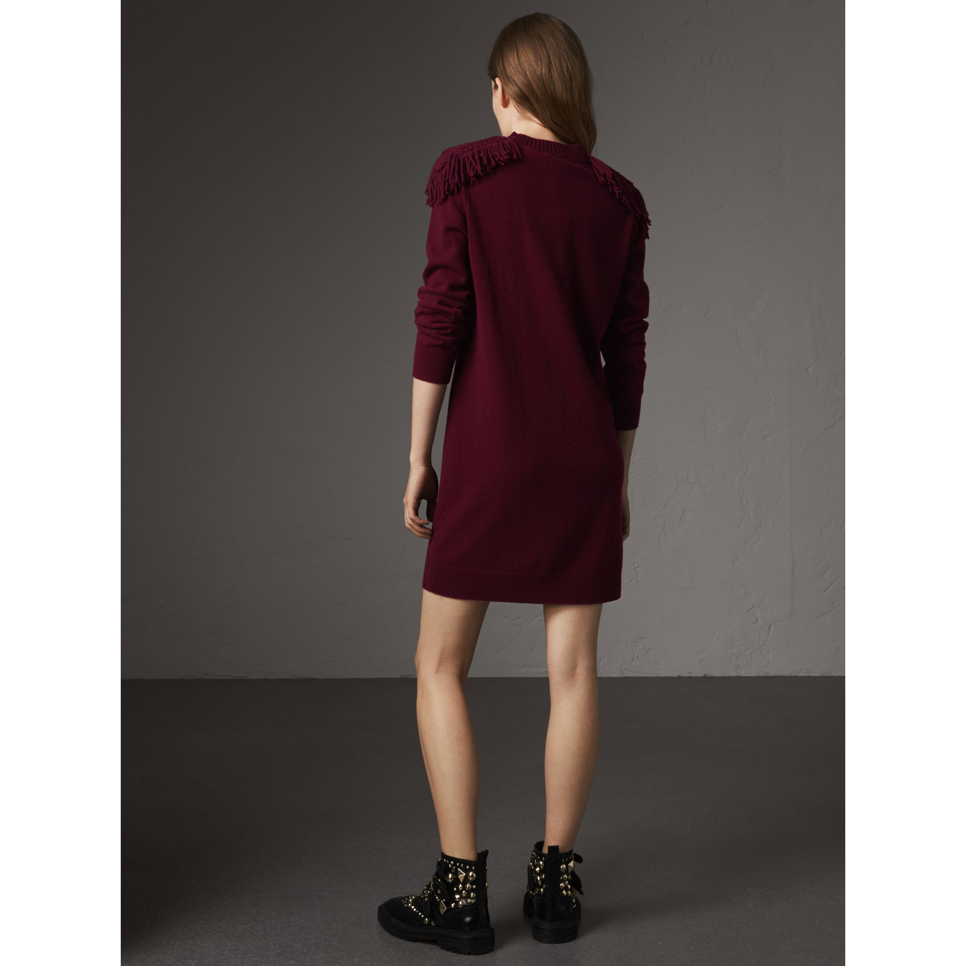 Epaulette Detail Wool Cashmere Dress in Burgundy - Women | Burberry United Kingdom - gallery image 2