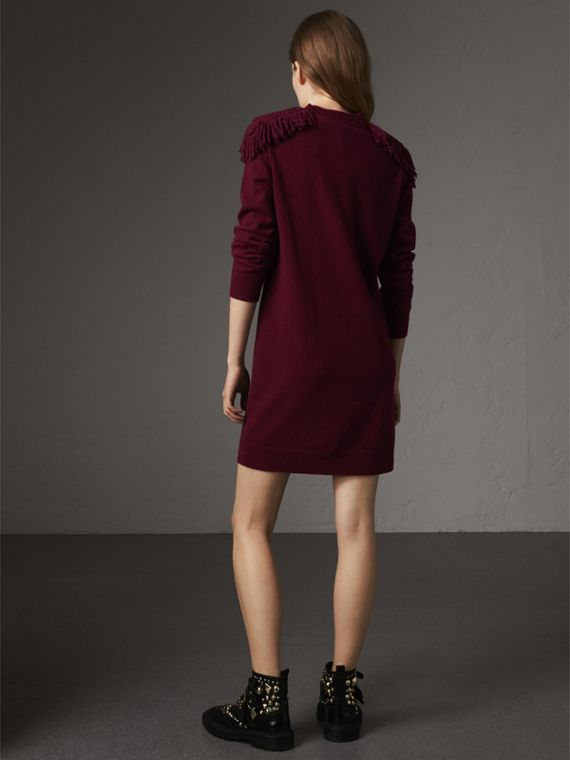 Epaulette Detail Wool Cashmere Dress in Burgundy - Women | Burberry - cell image 2