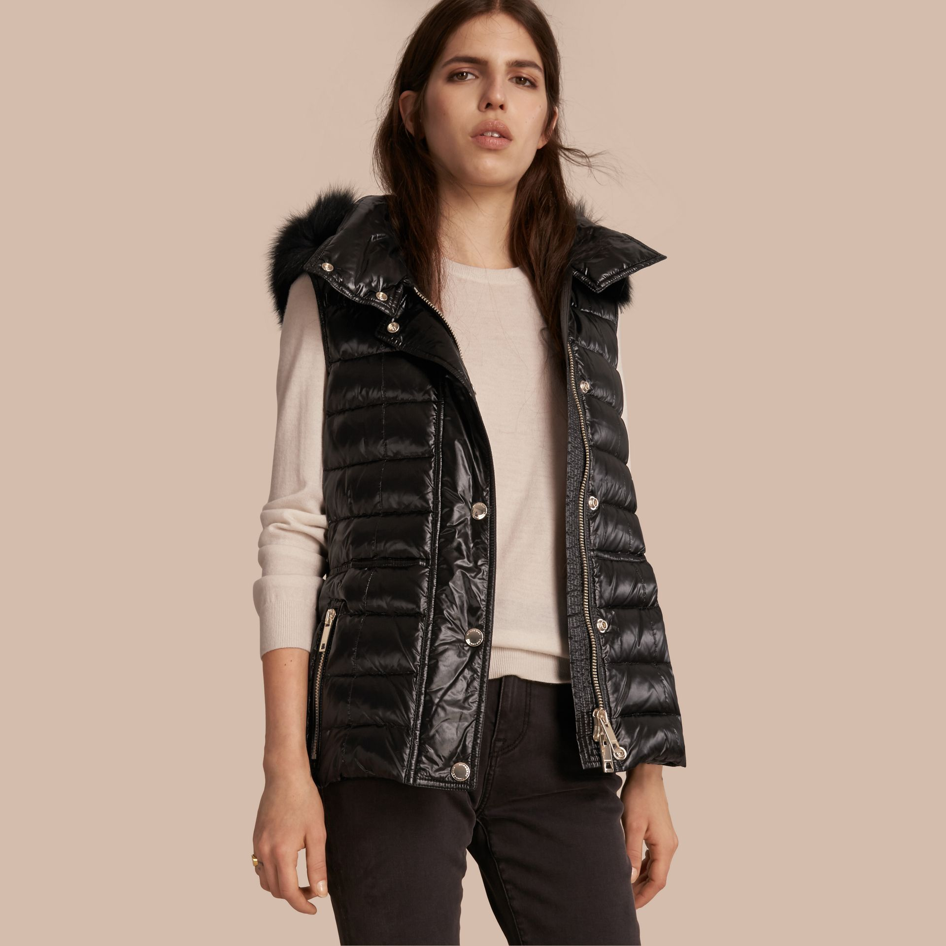 Black Down-filled Gilet with Detachable Fur-trimmed Hood - gallery image 1