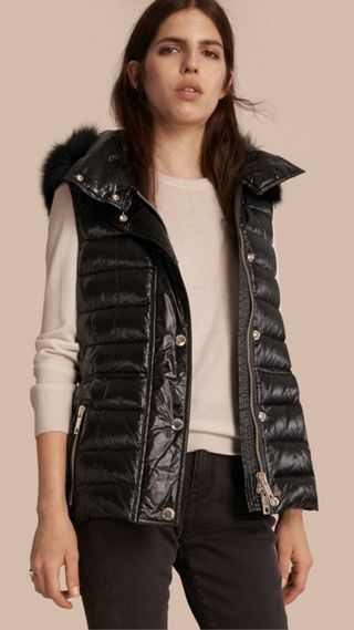 Down-filled Gilet with Detachable Fur-trimmed Hood
