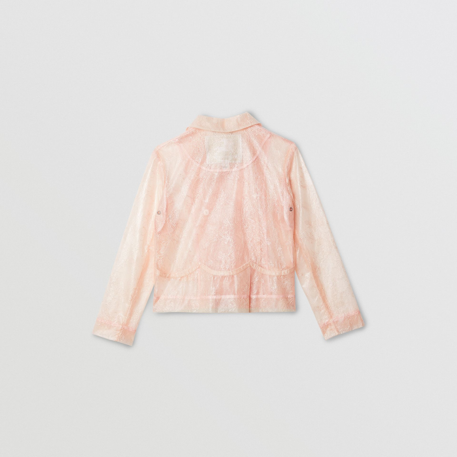 Laminated Lace Jacket in Pale Pink | Burberry United States - gallery image 3
