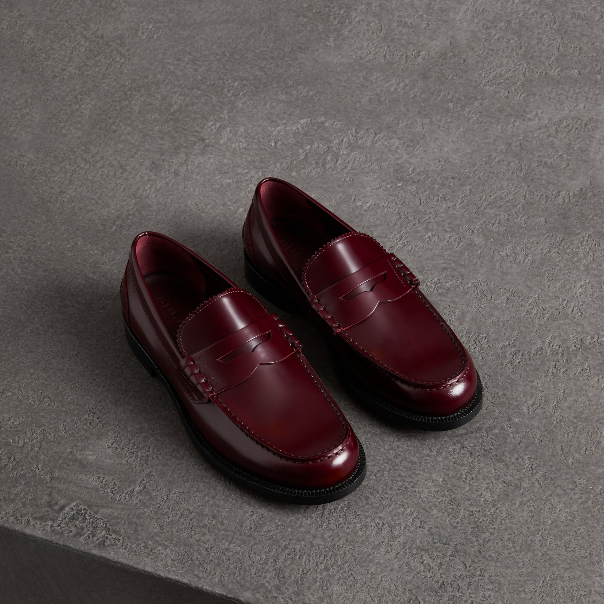 Leather Penny Loafers in Ebony Red - Men | Burberry Singapore - gallery image 0