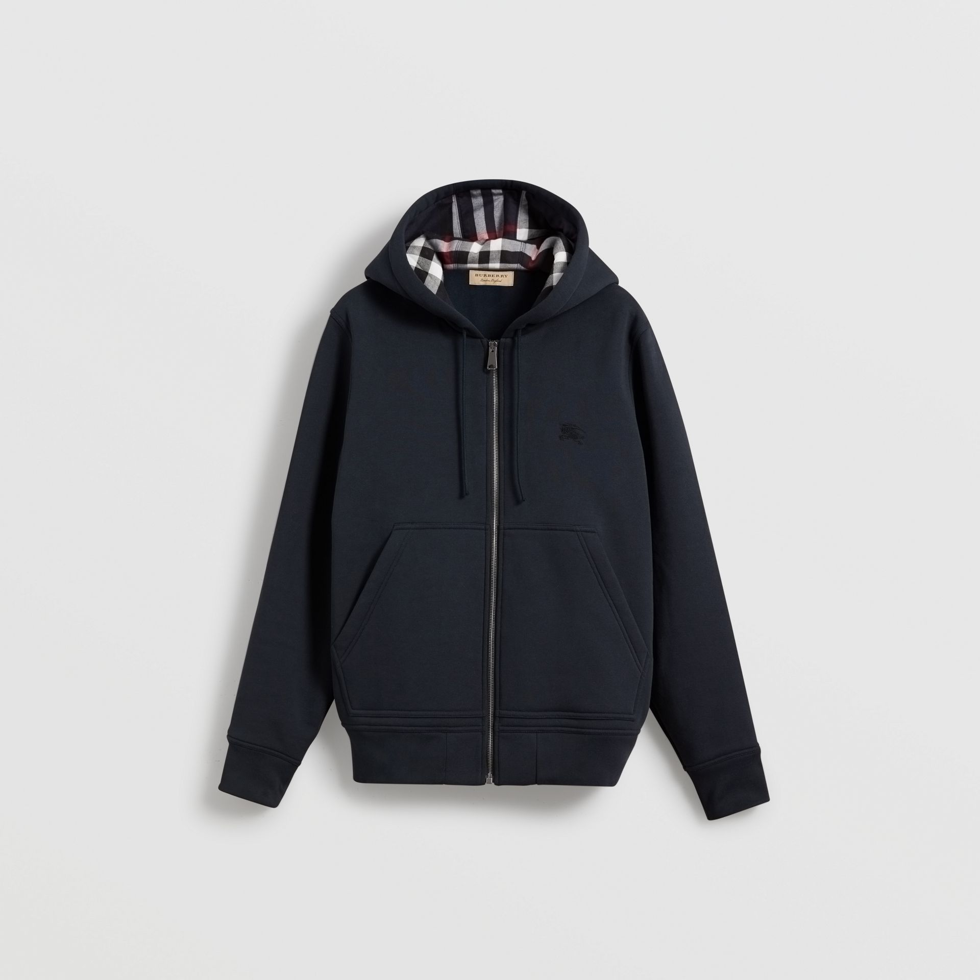 Check Detail Jersey Hooded Top in Navy - Men | Burberry Australia - gallery image 3
